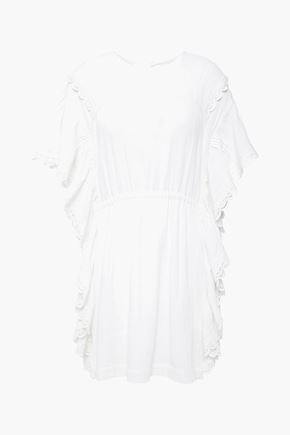 """IRO فستان قصير """"سيرينيتي"""" من الكنفا القطني بأجزاء مقصوصة مع كشكش"""