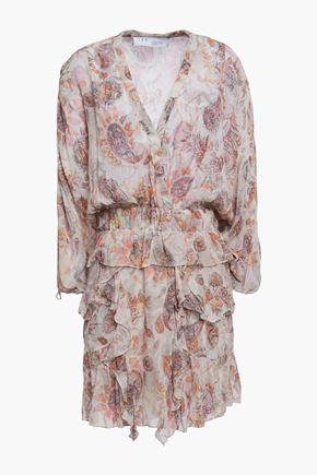 """IRO فستان قصير """"بريستين"""" بطبقات من النسيج الرقيق المطبع برسومات"""
