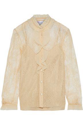 REDValentino Ruffled chiffon-trimmed lace blouse