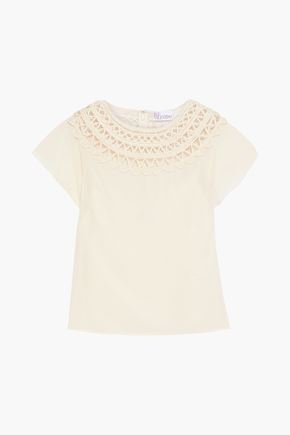 REDValentino Rickrack and point d'esprit-trimmed crepe blouse