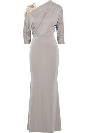 BADGLEY MISCHKA Embellished tulle-paneled metallic jersey gown