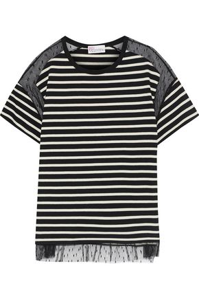 REDValentino Point d'esprit-paneled striped cotton T-shirt