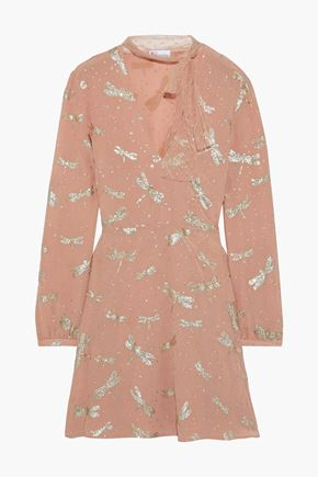 REDValentino Tie-neck glittered silk crepe de chine mini dress