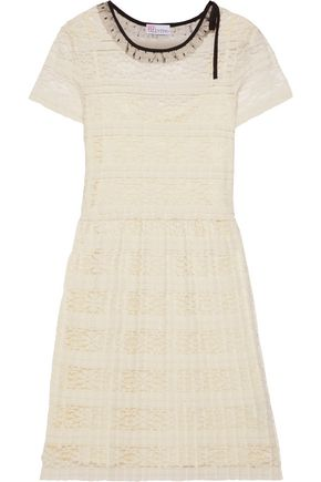 REDValentino Point d'esprit-trimmed pleated lace dress