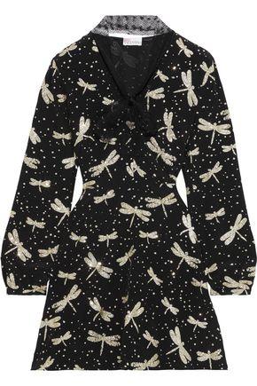 REDValentino Tie-neck printed glittered silk-crepe mini dress