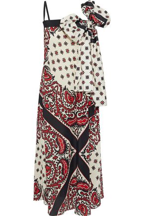 REDValentino Bow-embellished printed silk crepe de chine midi dress