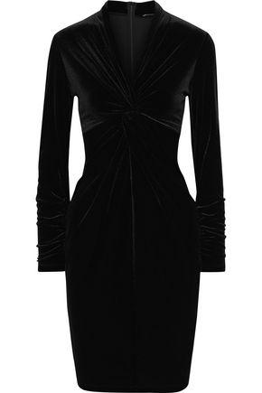 ELIE TAHARI Cynthia twist-front velvet dress