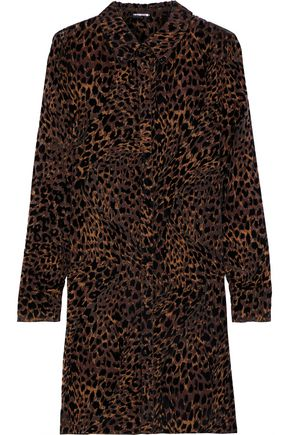 ELIE TAHARI Juliet leopard-print devoré-velvet mini dress