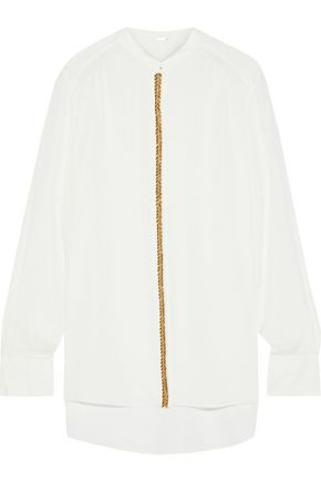 ELIE TAHARI Felice bead-embellished silk crepe de chine shirt