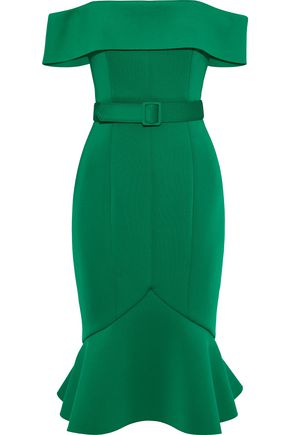 BADGLEY MISCHKA Off-the-shoulder belted neoprene dress