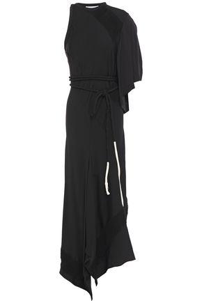 CHLOÉ فستان متوسط الطول وغير متماثل من الكريب الساتان مع حواف منسلة