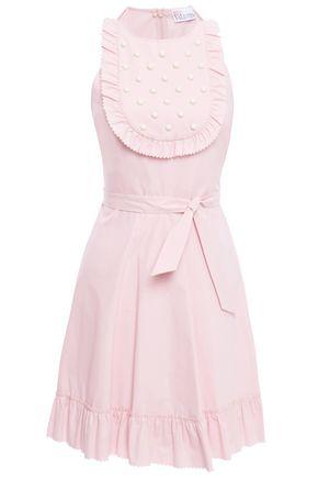 REDValentino Flared bead-embellished stretch cotton-poplin mini dress