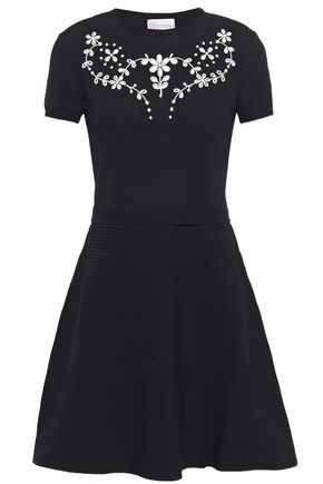 REDValentino Broderie anglaise-trimmed stretch-knit mini dress