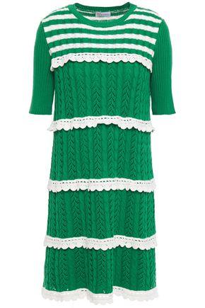 REDValentino Lattice-trimmed two-tone striped ribbed cotton mini dress