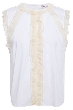 REDValentino Ruffled broderie anglaise-trimmed stretch-cotton poplin top