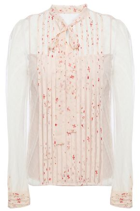 REDValentino Pussy-bow printed silk-trimmed point d'esprit top