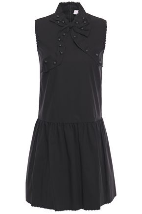 REDValentino Studded bow-detailed stretch-cotton poplin mini dress