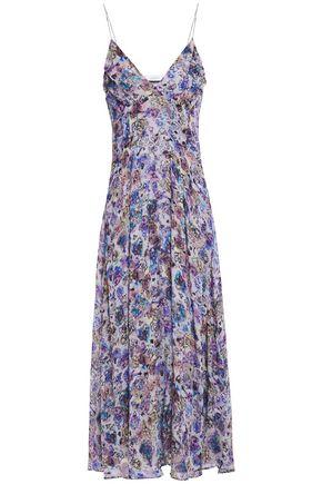 IRO فستان متوسط الطول من قماش جورجيت المطبع بالورود مع طيات