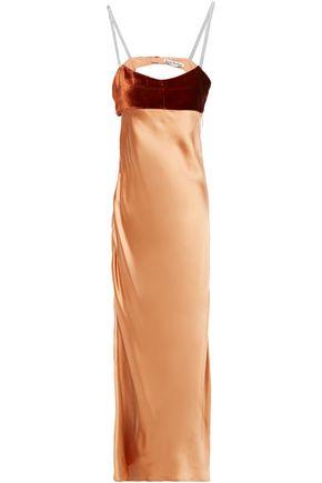 ACNE STUDIOS Open-back velvet-paneled satin midi dress