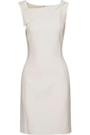 OSCAR DE LA RENTA Draped wool-blend crepe mini dress
