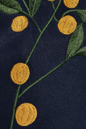 OSCAR DE LA RENTA Flared embroidered silk-faille dress