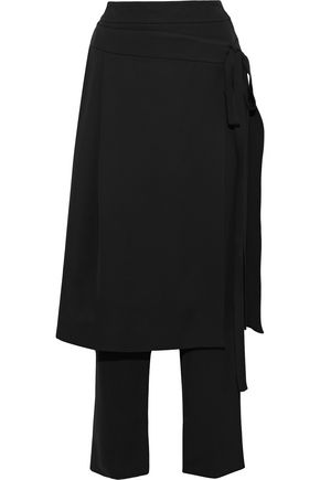 OSCAR DE LA RENTA Layered pleated crepe straight-leg pants