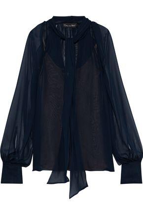 OSCAR DE LA RENTA Tie-neck silk-chiffon blouse
