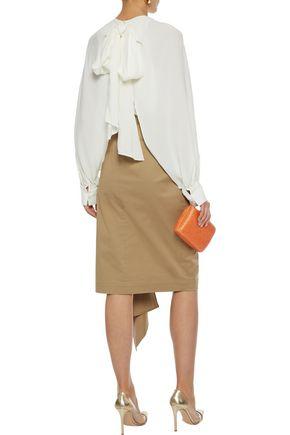 OSCAR DE LA RENTA Pussy-bow layered stretch-crepe blouse