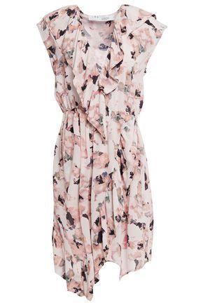 IRO فستان بتصميم ملتفّ من قماش كريب دي شين المطبع بالورود مزين بالكشكش