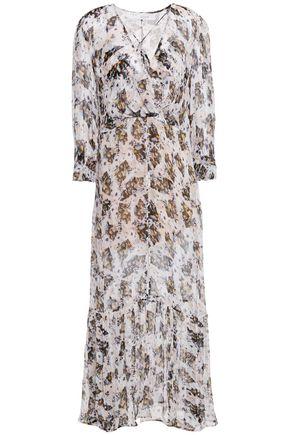 """IRO فستان متوسط الطول """"ويلو"""" بتصميم ملتفّ من الشيفون المطبع برسومات"""