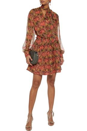 OSCAR DE LA RENTA Pussy-bow pleated floral-print silk-chiffon mini dress
