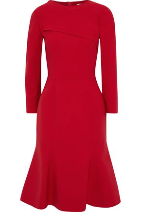 OSCAR DE LA RENTA Fluted wool-blend dress
