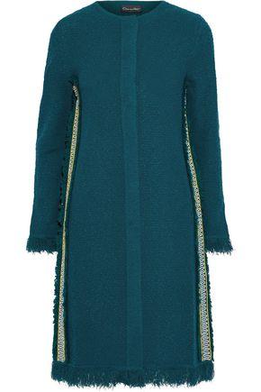 OSCAR DE LA RENTA Fringed grosgrain-trimmed frayed bouclé-knit coat