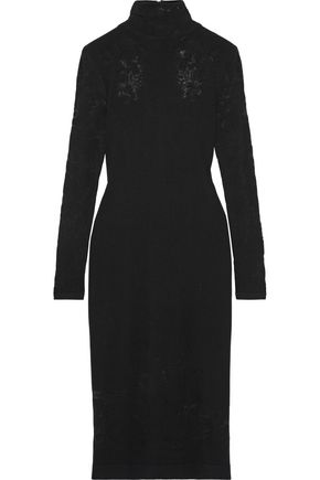 OSCAR DE LA RENTA Burnout stretch-knit turtleneck dress