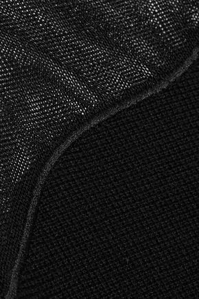 OSCAR DE LA RENTA Flared crochet knit-paneled wool and silk-blend dress
