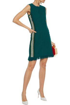 OSCAR DE LA RENTA Fringed grosgrain-trimmed frayed bouclé-knit mini dress
