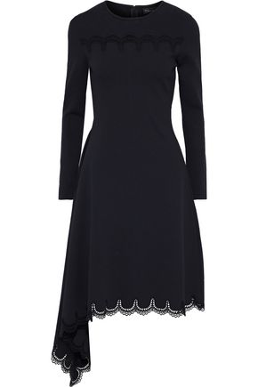 OSCAR DE LA RENTA Asymmetric crochet-trimmed ponte dress