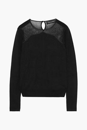 OSCAR DE LA RENTA Crochet knit-paneled wool and silk-blend sweater