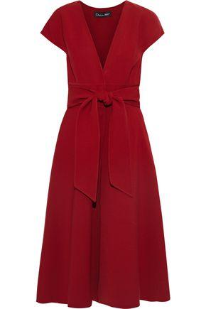 OSCAR DE LA RENTA فستان من الكريب المصنوع من مزيج الصوف مزوّد بحزام