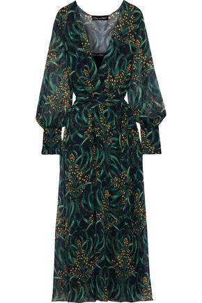 OSCAR DE LA RENTA Wrap-effect printed silk-chiffon maxi dress