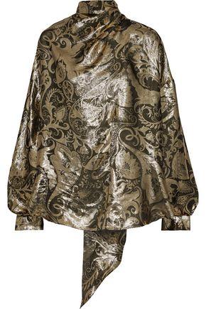 OSCAR DE LA RENTA Tie-neck metallic silk-blend jacquard blouse