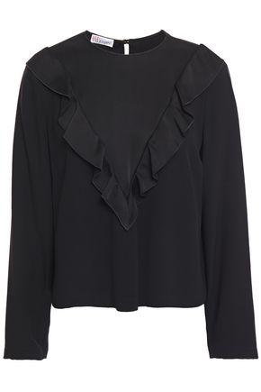 REDValentino Ruffle-trimmed satin-crepe blouse