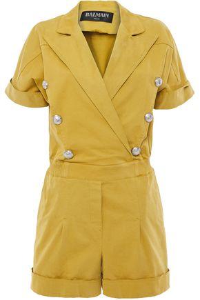 BALMAIN Button-embellished cotton-blend twill playsuit