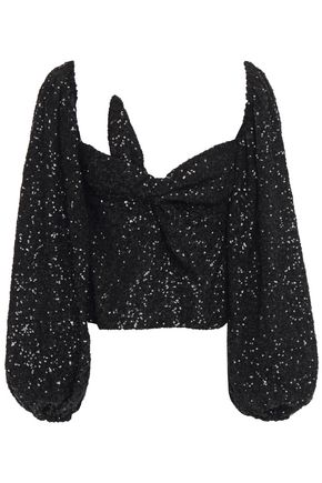 THE ATTICO Knotted sequined tulle top