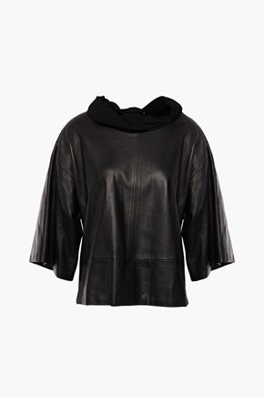 ISABEL MARANT Jersey-trimmed leather top