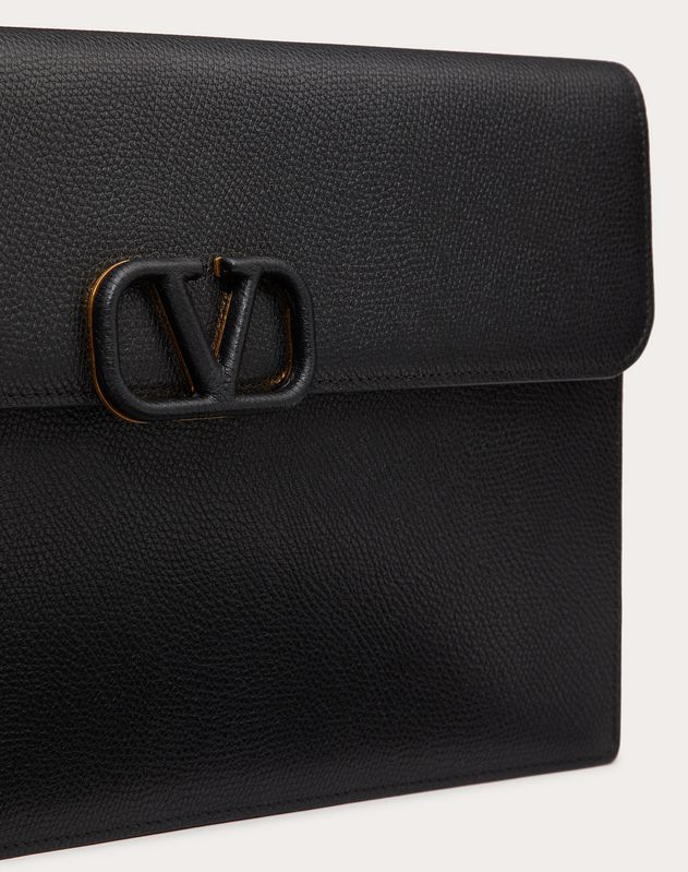 LARGE VSLING GRAINY CALFSKIN ENVELOPE POUCH