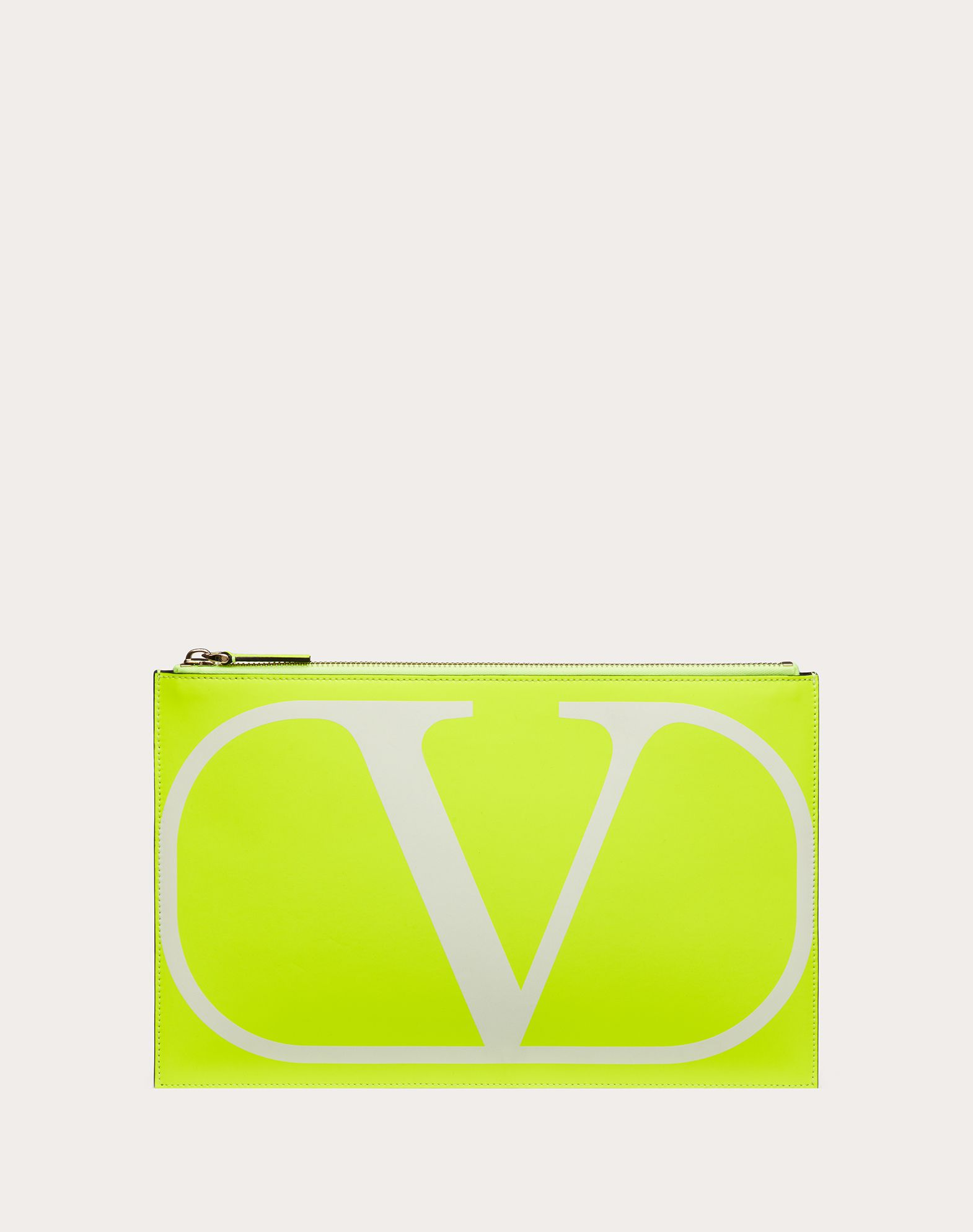 LARGE VLOGO NEON CALFSKIN POUCH