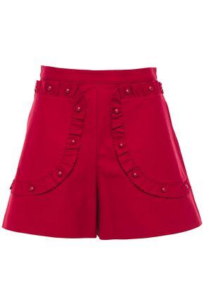 REDValentino Button-detailed ruffle-trimmed cotton-blend poplin shorts