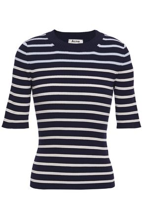 ACNE STUDIOS Striped ribbed cotton-blend top