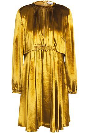 REDValentino Gathered shirred velvet mini dress
